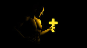 A Firm Believer In Christ Illustration. A firm believer gripping hold of a cross Stock Photos