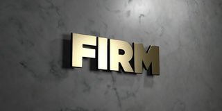Firm - Gold sign mounted on glossy marble wall  - 3D rendered royalty free stock illustration Stock Image
