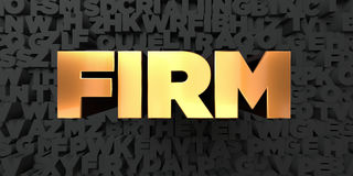 Firm - Gold text on black background - 3D rendered royalty free stock picture Royalty Free Stock Photo