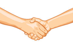 Firm Handshake. Illustration of two male handshaking with each other on white background Royalty Free Stock Photography