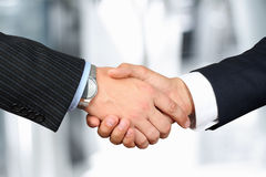 The  firm handshake  between two colleagues outsi Royalty Free Stock Photography