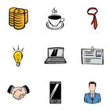 Firm icons set, cartoon style Stock Image