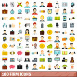 100 firm icons set, flat style. 100 firm icons set in flat style for any design vector illustration Stock Images