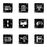 Firm icons set, grunge style. Firm icons set. Grunge illustration of 9 firm vector icons for web Royalty Free Stock Photos