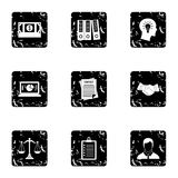Firm icons set, grunge style. Firm icons set. Grunge illustration of 9 firm vector icons for web Royalty Free Stock Images