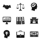 Firm icons set, simple style. Firm icons set. Simple illustration of 9 firm vector icons for web Stock Image