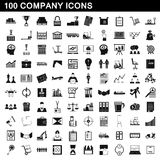 100 firm ikon ustawiających, prosty styl Ilustracja Wektor