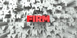 FIRM -  Red text on typography background - 3D rendered royalty free stock image Stock Image