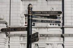 Firma adentro la ciudad de Aberdeen, Escocia Imágenes de archivo libres de regalías