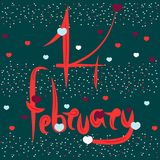 Firma artistica il 14 febbraio, giorno del biglietto di S. Valentino della st Gli elementi romantici sono usati - cuore Illustraz illustrazione di stock