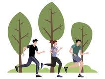 Firma atlety jogging w parku W minimalisty stylu kresk?wki mieszkania wektorze ilustracji