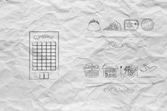 Firma budynek obok dochód ikon versus koszty below Fotografia Stock