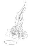 Firma de la pluma y de las rosas Fotos de archivo