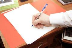 Firma de una hoja limpia por la maneta Imagen de archivo