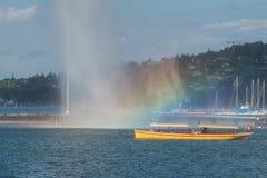 Firma der Schweiz Genf von traditionellen Läufen eine Seenavigation Stockfotografie
