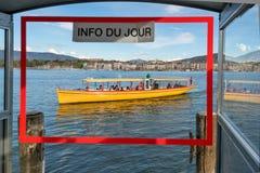 Firma der Schweiz Genf von traditionellen Läufen eine Seenavigation Lizenzfreies Stockbild