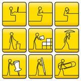 Firma i simboli di piccoli uomini dalle linee molto semplici Fotografie Stock Libere da Diritti