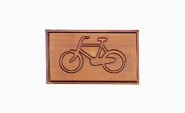 Firma la bicicletta di legno, isolata Immagini Stock Libere da Diritti