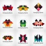 Firma logowie, papierowy geometryczny ikona set ilustracja wektor