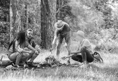 Firma przyjaciele przygotowywają piec marshmallows przekąski natury tło Campingowa aktywność Firmy młodości campingowy las obraz royalty free