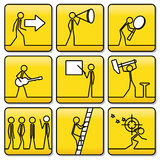 Firma símbolos de pequeños hombres de líneas muy simples Foto de archivo libre de regalías