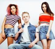 Firma von den Hippie-Kerlen, von blondem Jungen und von Studentinnen, die fu haben Stockbilder