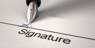 Firma X e penna stilografica Fotografia Stock Libera da Diritti