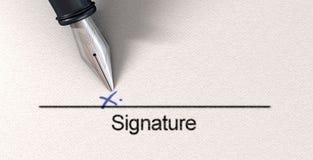 Firma X e penna stilografica Immagini Stock Libere da Diritti