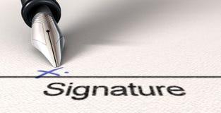 Firma X y pluma Imagen de archivo libre de regalías