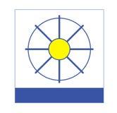 Firma-Zeichen-blaues Gelbes und Weiß Stockfotos