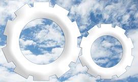 Firma-Zeichen - weiße Räder auf Himmel-Hintergrund Stockbilder