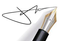 Firmando con una penna di fontana Fotografia Stock