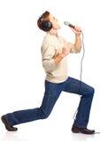 Firmante feliz del Karaoke Imágenes de archivo libres de regalías