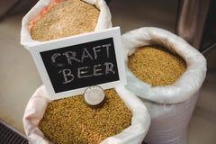 Firme al tablero con la diversa cebada en saco en la cervecería Fotos de archivo libres de regalías