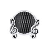 firme el alivio del icono de la clave de sol de la música con el marco metálico con la parrilla perforada Foto de archivo libre de regalías
