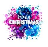 Firme la Feliz Navidad en el estilo de papel en la mano multicolora dibujada Foto de archivo