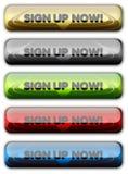 Firme para arriba el botón del Web Imagen de archivo