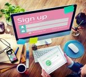 Firme para arriba el concepto de la protección del inicio de sesión de la contraseña del username Imágenes de archivo libres de regalías