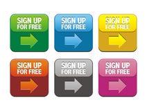 Firme para arriba gratis los botones stock de ilustración