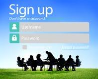 Firme para arriba registran en línea concepto del web de Internet Fotografía de archivo libre de regalías