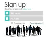 Firme para arriba registran en línea concepto del web de Internet Imagenes de archivo