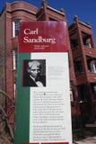 Firme para el hogar de Carl Sandburg del poeta en Chicago, Illinois Imagen de archivo