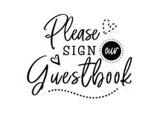 Firme por favor nuestras letras de la boda del libro de visitas Foto de archivo libre de regalías