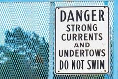 Firme por la advertencia del río de corrientes fuertes y de undertows ninguna natación Imagen de archivo libre de regalías