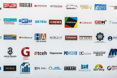 Firmen, die an der Ausstellung und an der Konferenz teilnehmen Stockbild