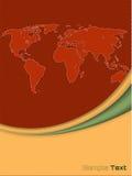 Firmenbroschüre mit umrissener Weltkarte Stockfotografie