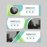 Firmenkundengeschäft-Fahnenschablone Kreises Eco grüne abstrakte, flaches Design der horizontalen Werbebranchefahnenplan-Schablon Lizenzfreies Stockfoto