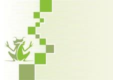Firmenmarke mit einem Frosch auf einem grünen Hintergrund Lizenzfreie Stockbilder