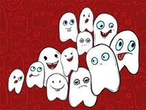 Firmenunterhaltende Geister mit verschiedenen Gefühlen Halloween Stockbild