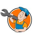 Firmenzeichen mit dem glücklichen Handwerker, der einen Schlüssel hält vektor abbildung
